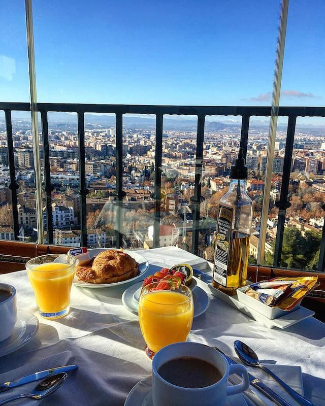 One of our favorite family-friendly hotels in Granada, Hotel Arabeluj, has some of the best views in the city!