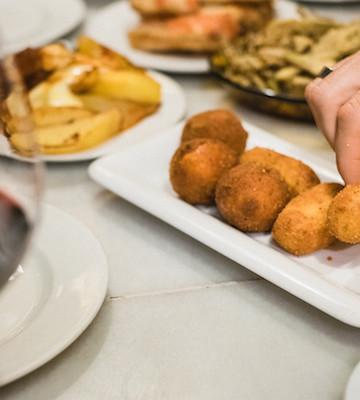tapas spread on a table