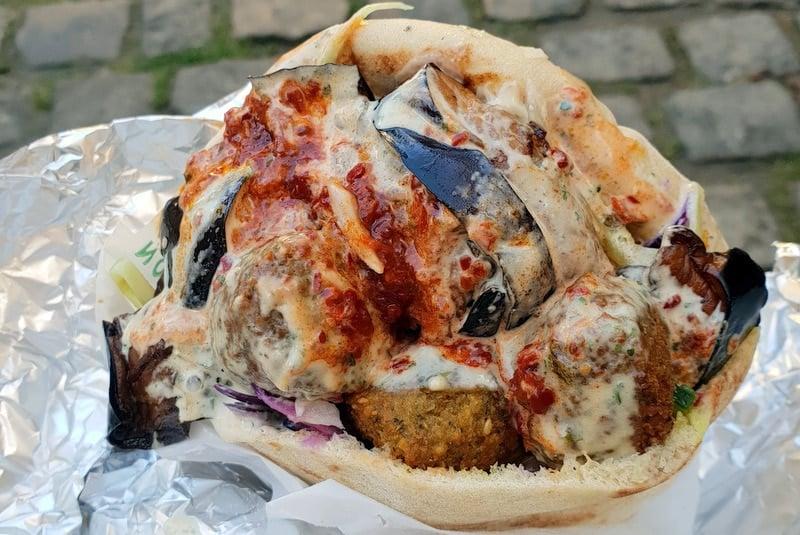 The delicious (and enormous!) falafel at L'As du Fallafel in Paris