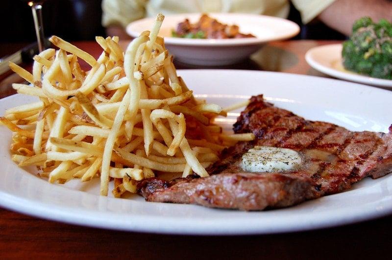 Delicious steak frites in Paris.