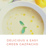 Pinterest image for green tomato gazpacho recipe