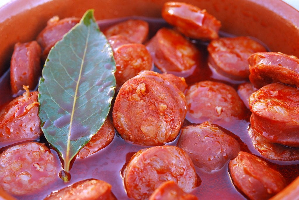 Chorizo cooked in red wine