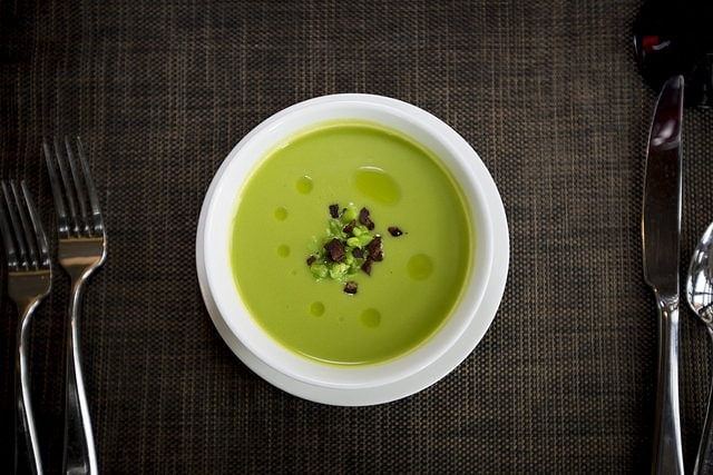 Pea and Mint soup recipe with crispy ham