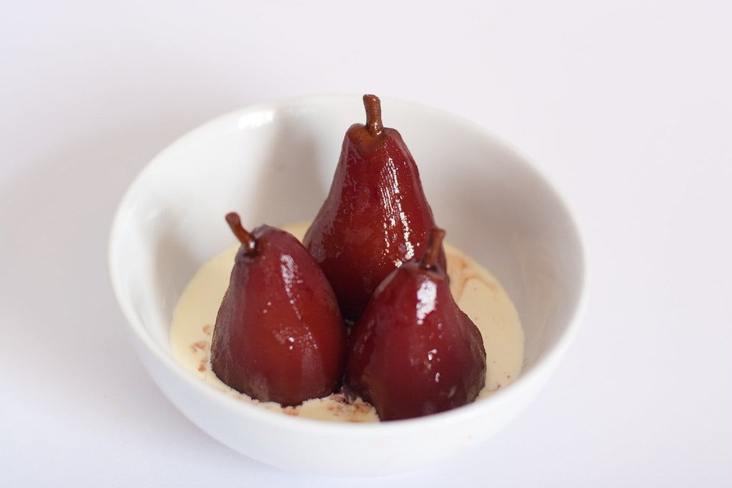Delicious poached pears in red wine recipe.