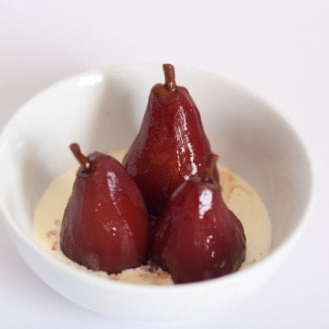 Pears poached in red wine and spices.