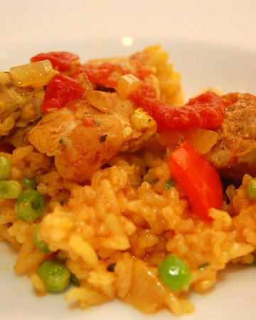 A recipe for Spanish chicken and rice with Chorizo.
