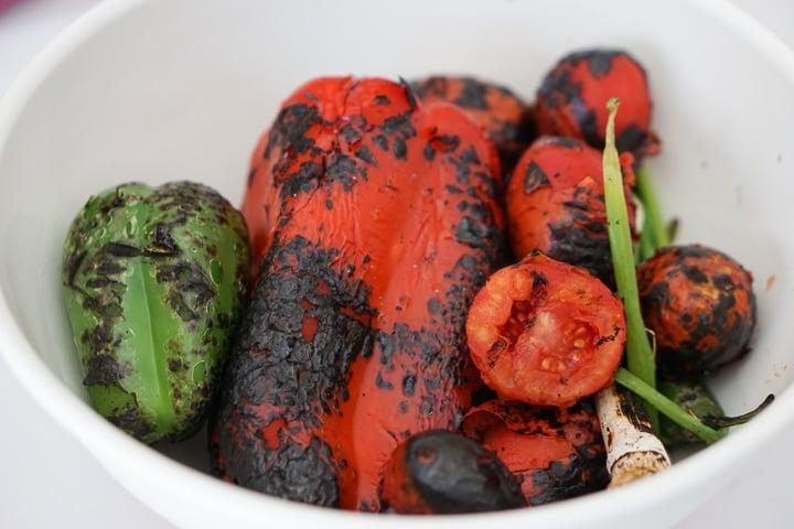 Charred vegetables for Roasted vegetable gazpacho