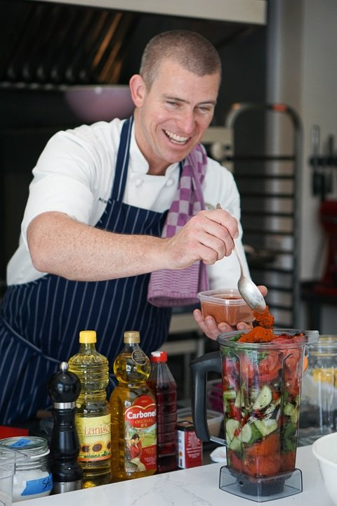 Roasted vegetable gazpacho with Chef Ross in Mallorca.