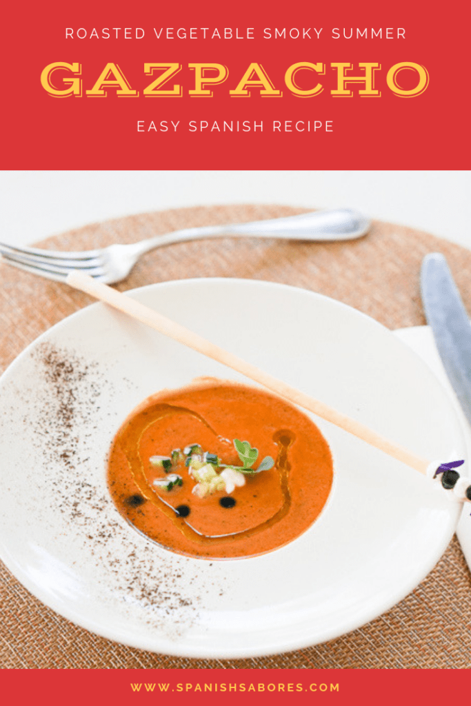 Roasted vegetable gazpacho is one of the most delicious Spanish gazpacho recipes for summer!