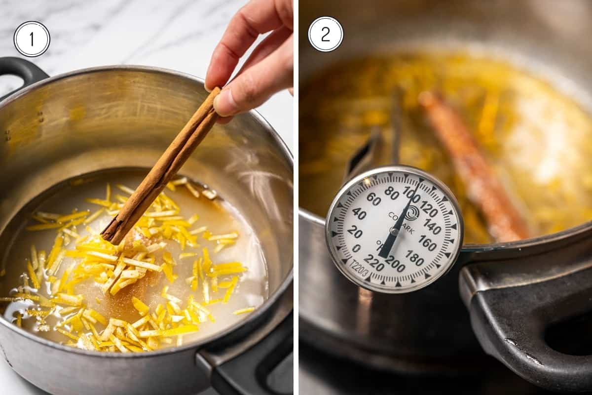 Making homemade pastel de nata steps 1-2. Making a sugar syrup with a candy thermometer.