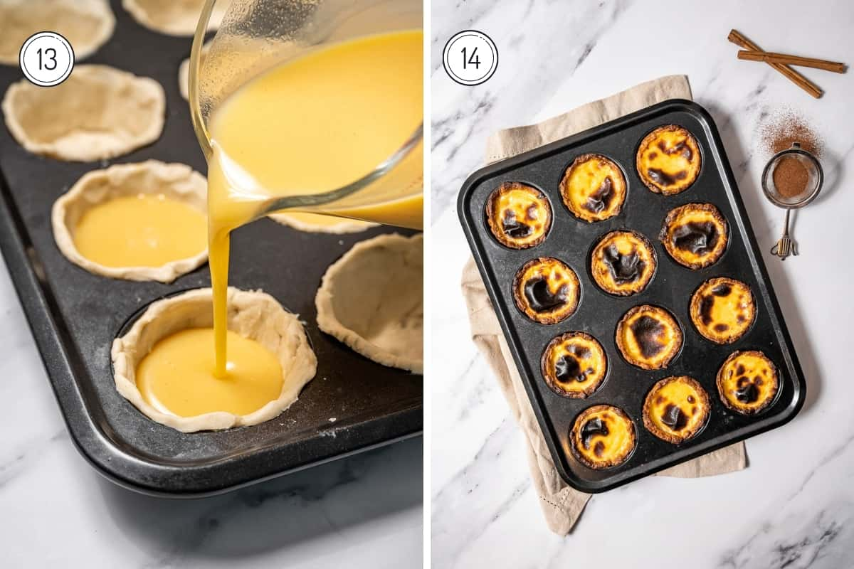 Steps 13-14 of making pasteis de nata. Filling the pastel de nata shells and then the finished pasteis de nata in a muffin tin out of the oven.