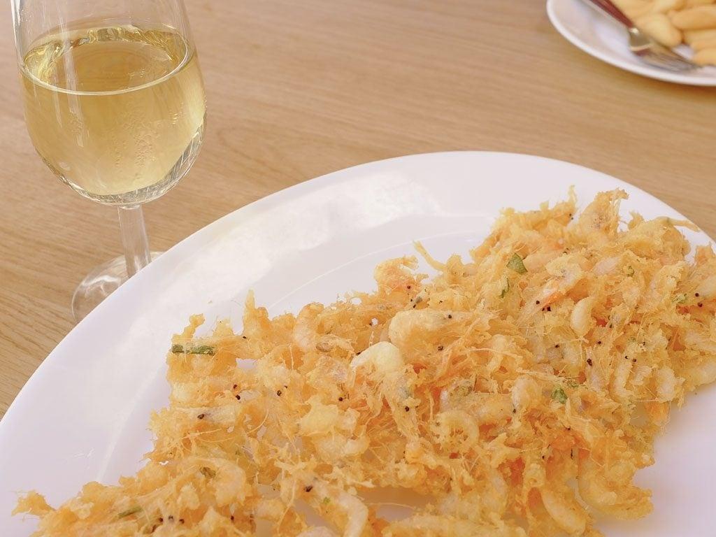 Shrimp fritters at Casa Balbino in Spain.