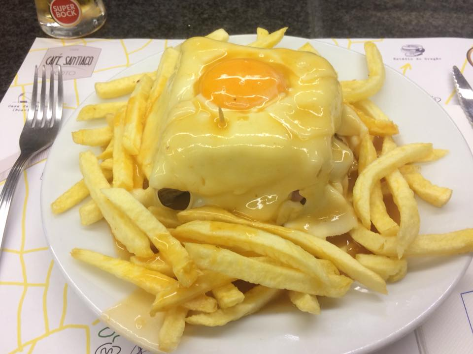 This is the famous Francesinha at Café Santiago in Porto, Portugal.