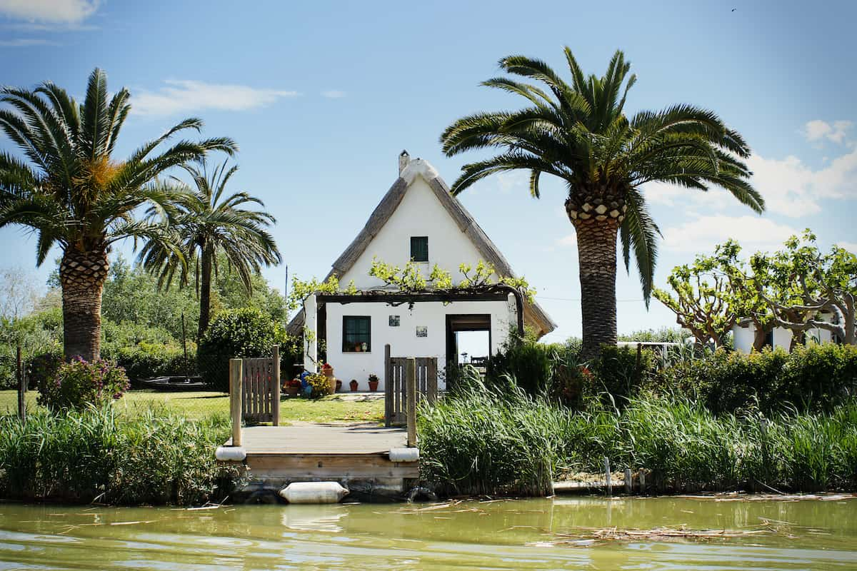Small white house on a lake surrounded by palm trees and other plants.
