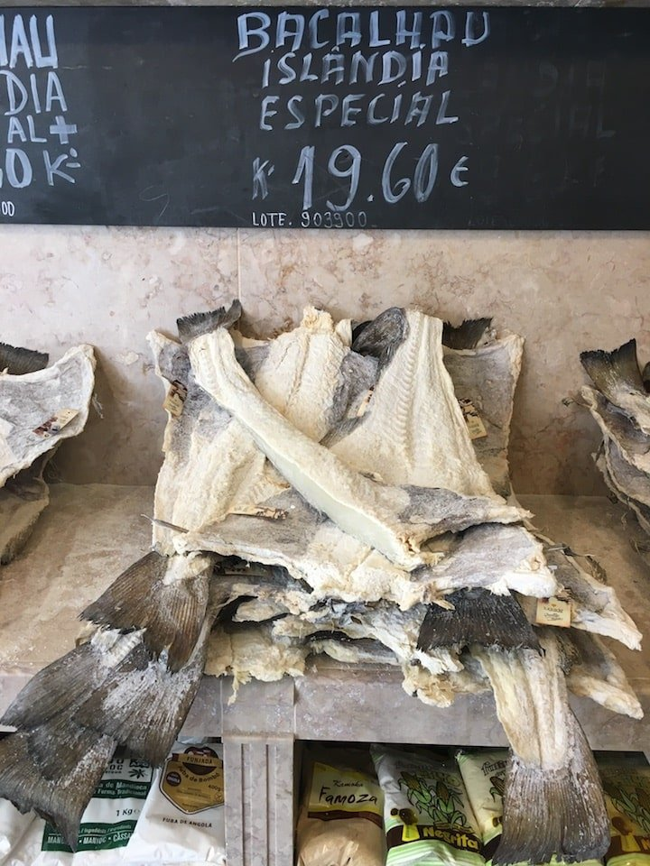 Salt cod at a traditional shop in Lisbon.