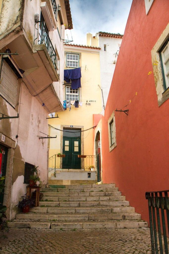 The winding, hilly streets of Lisbon's famous Alfama neighborhood.