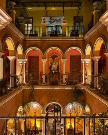 Interior patio of the Casa del Poeta boutique hotel in Seville.