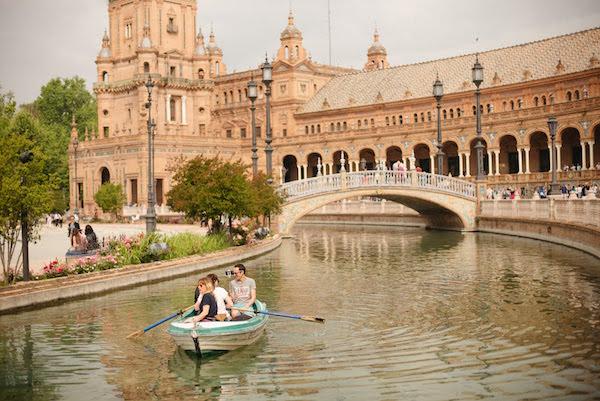 Seville with kids - boats in Plaza de España