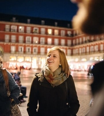 things to do in Madrid at night - group visiting the Plaza Mayor