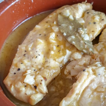 Chicken in white wine and garlic sauce. Spanish pollo en salsa in a clay dish.