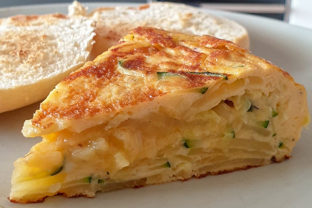 Spanish Tortilla with Zucchini, Leeks, Potatoes and Cheese