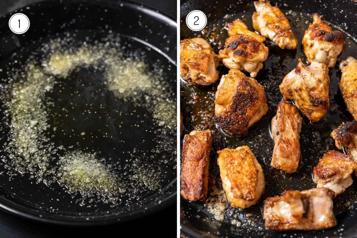 Steps 1-2 of making paella Valenciana: Adding salt and olive oil to the pan (1) and browning the meat (2)