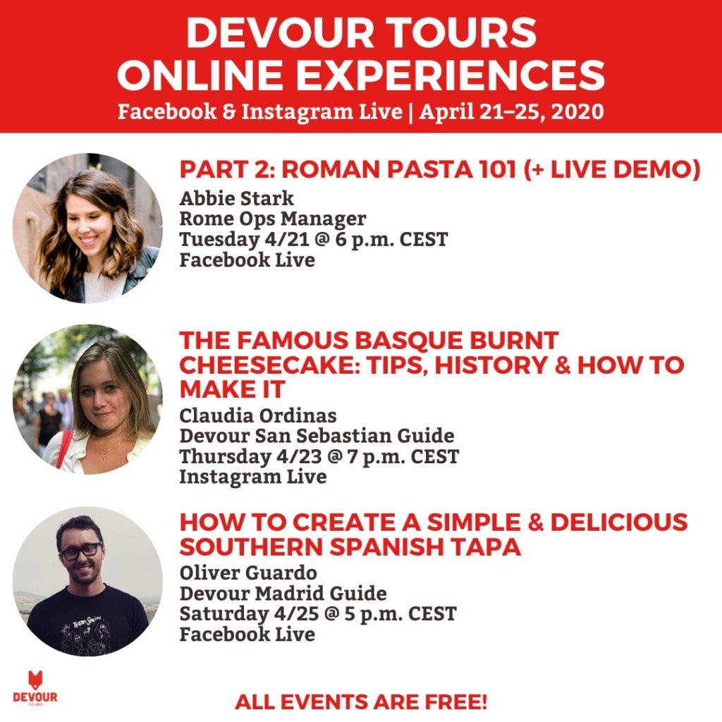 Devour Tours online experiences