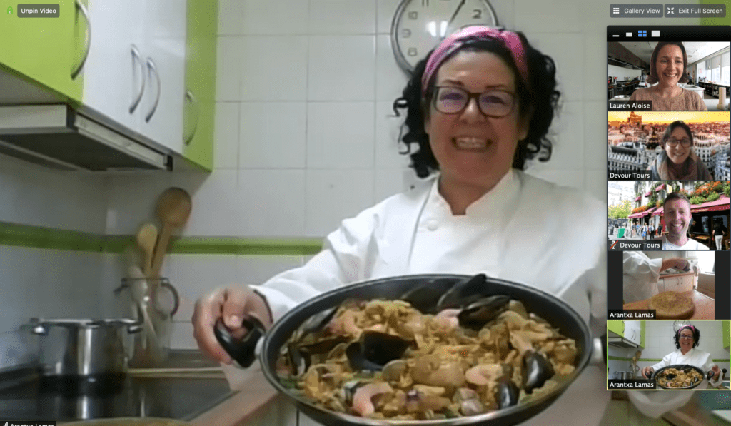 virtual cooking classes - making paella with Chef Arantxa