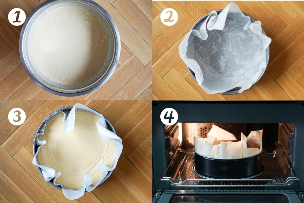 Basque cheesecake recipe step by step photos. A mixing bowl, a parchment paper lined springform pan, the batter in the pan, putting the cake in the oven.