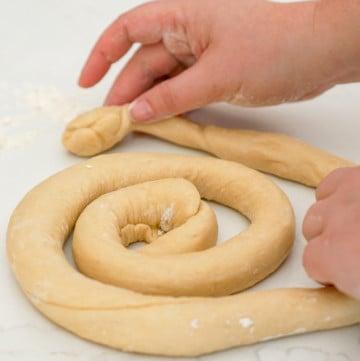 Making ensaimada dough in Mallorca