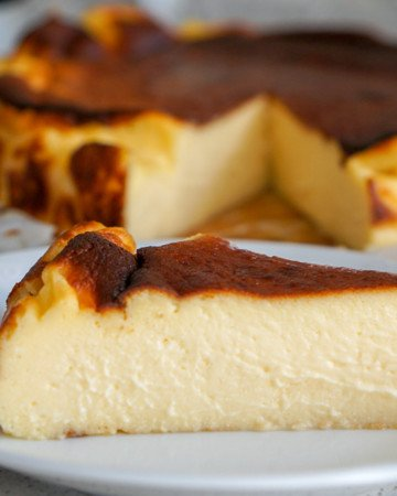 A slice of burnt Basque cheesecake.