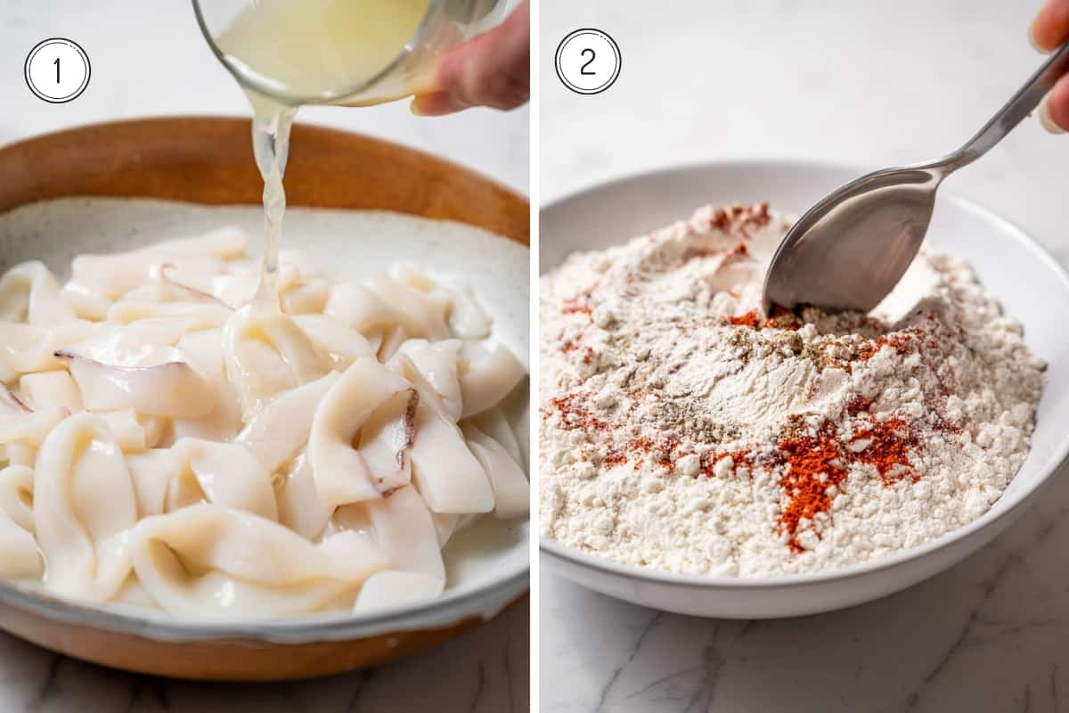 Fried calamari recipe steps 1-2 in a grid. Pouring lemon juice on raw calamari. Mixing flour and spices.
