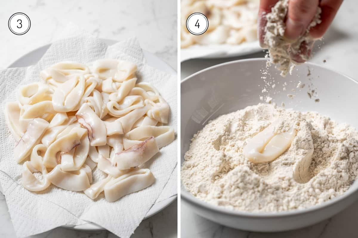 Fried calamari steps 3-4 in a grid. Drying the calamari rings on paper towels. Sprinkling flour mixture on the raw calamari in a large bowl.