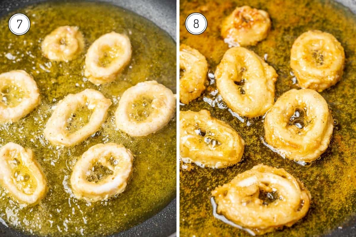 Steps 7-8 of making fried calamari in a grid. Frying the squid on one side and then the other.