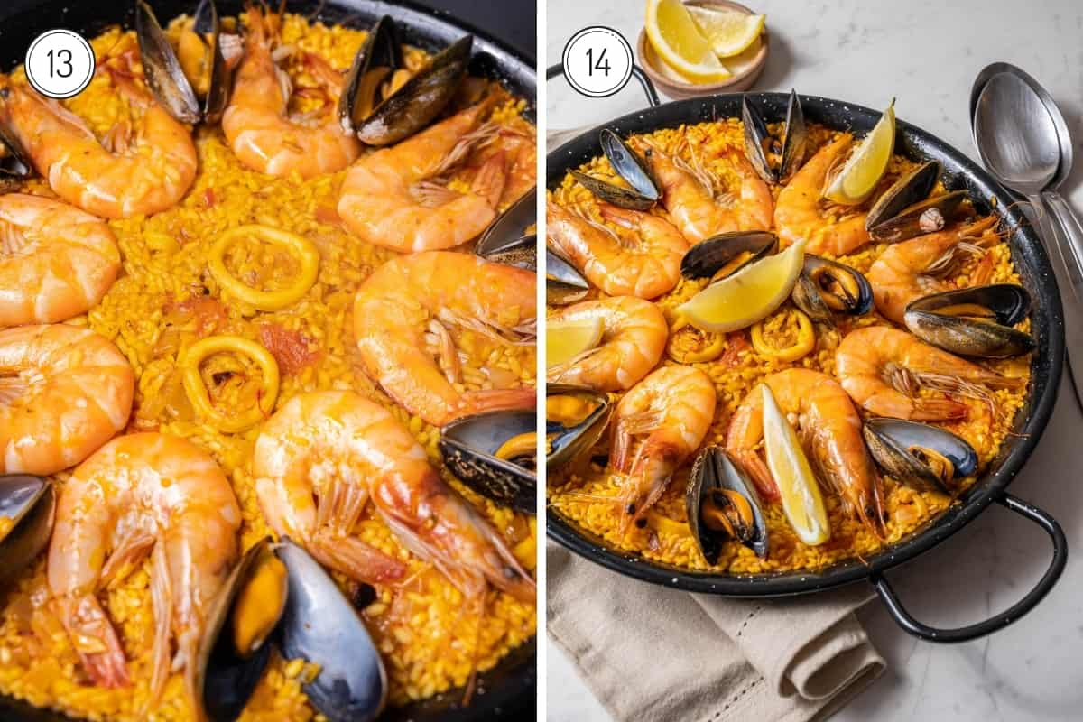 Making seafood paella steps 13-14 in a grib