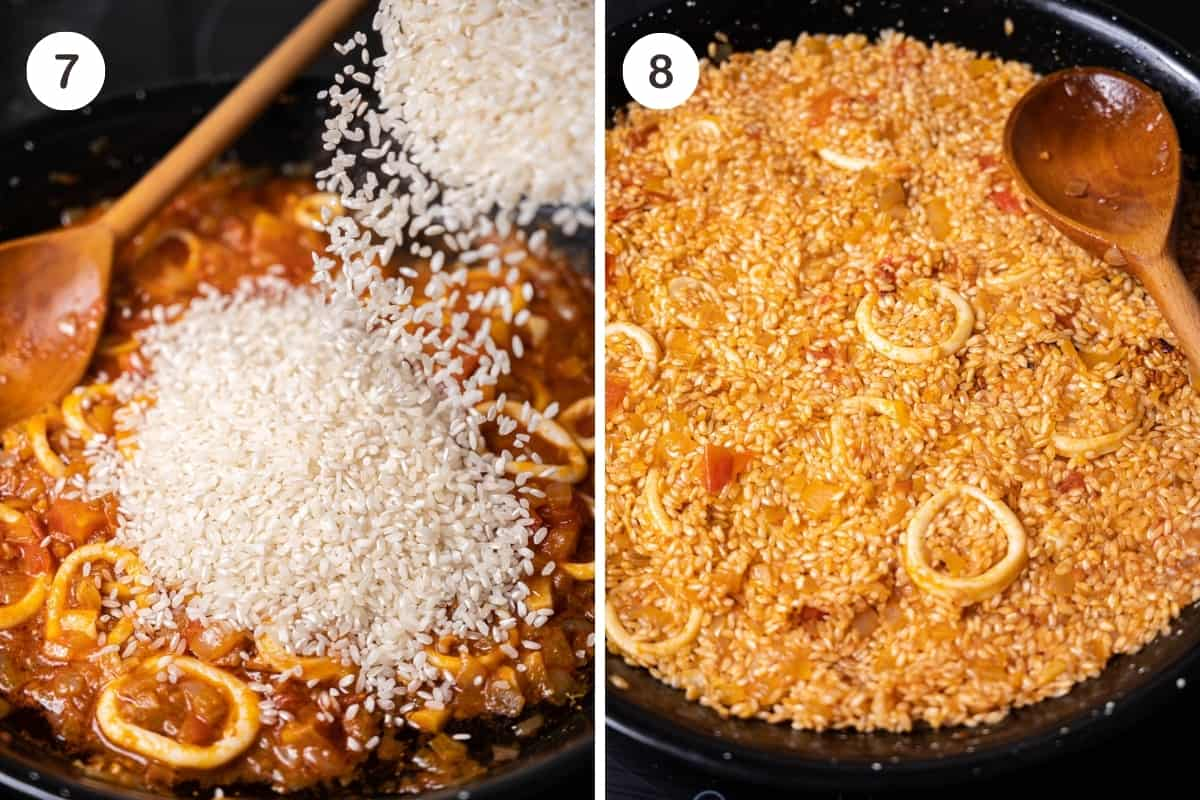 Steps 7-8 for making seafood paella in a grid. Adding rice and stirring.
