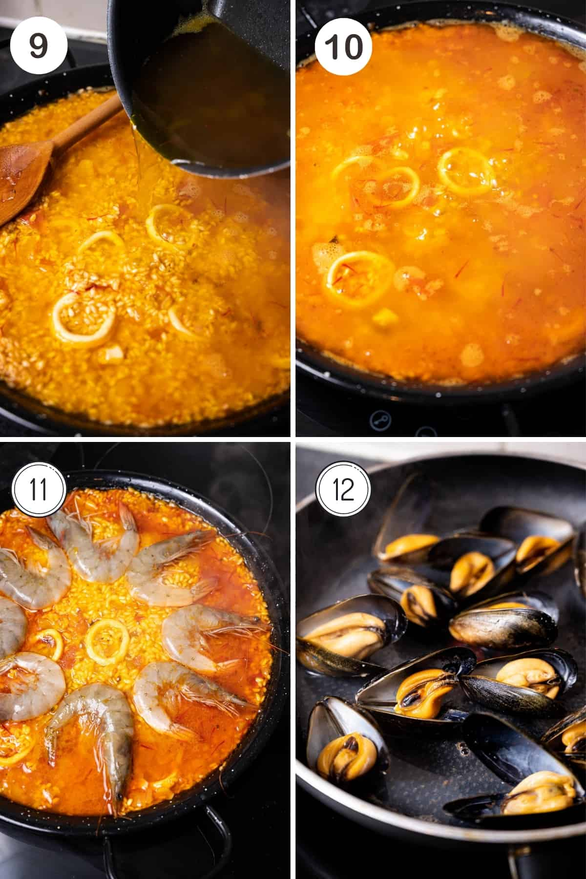 Seafood paella steps 9-12 in a grid. Adding stock and then shrimp to the rice. Steaming mussels.