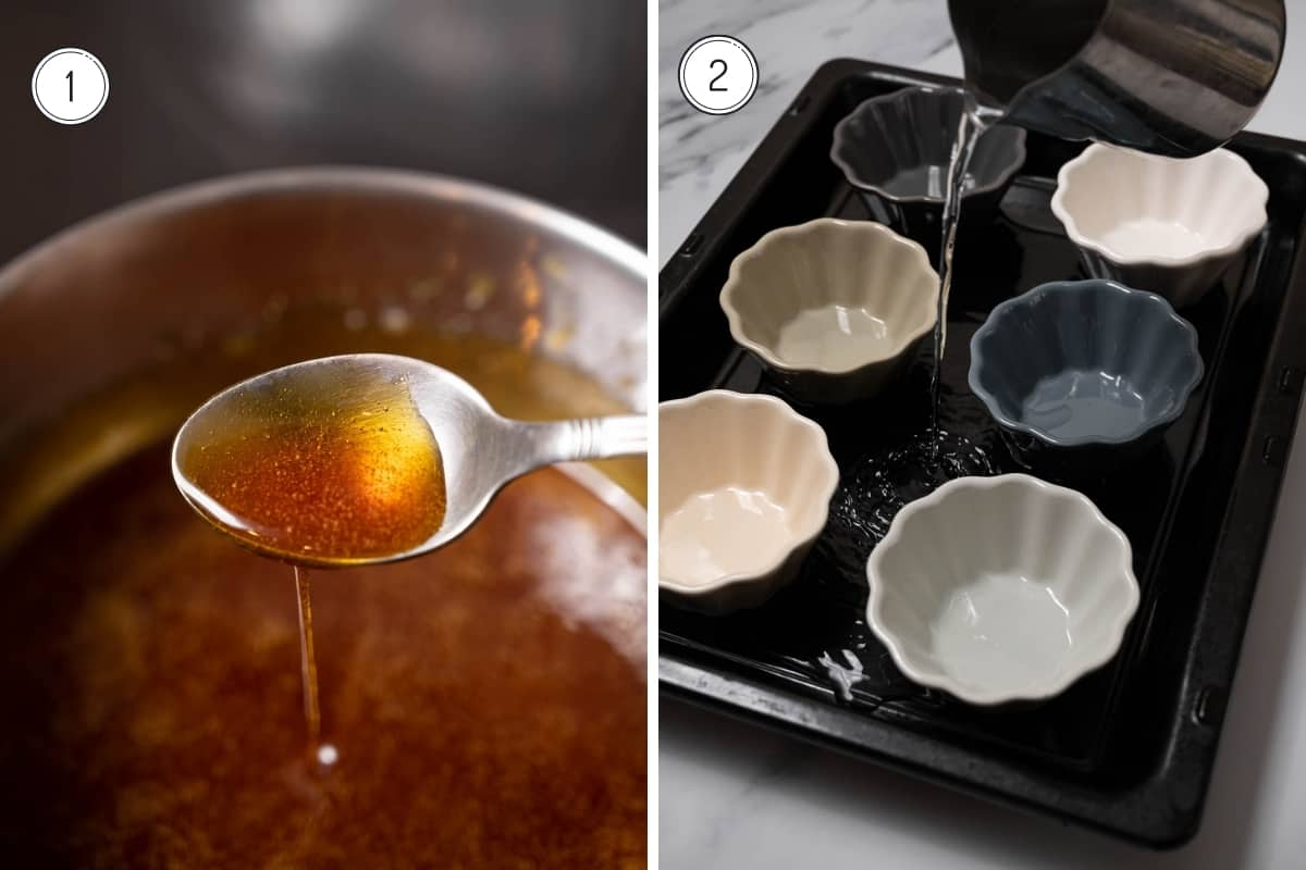 Steps 1-2 making Spanish flan in a grid. Making caramel and placing ramekins on a baking tray.