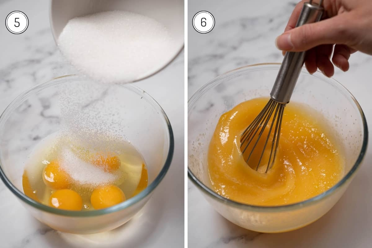 Spanish flan recipe steps 5-6 in a grid