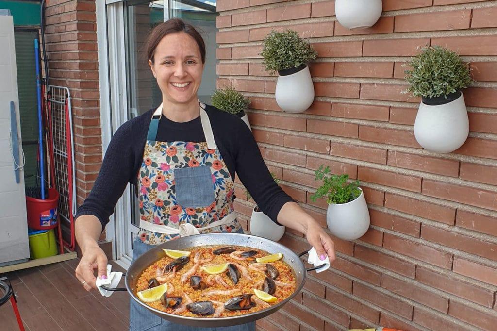 Lauren making paella - a virtual cooking class