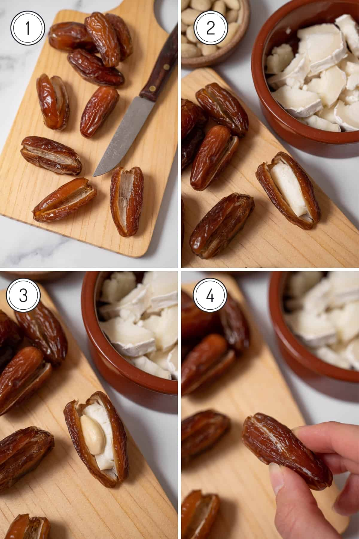 Bacon wrapped dates recipe steps 1-4 in a grid. Cutting, stuffing, and closing the dates.