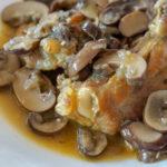 Spanish chicken with mushrooms in wine sauce