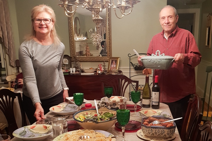 Mom and dad on Christmas Eve dinner