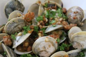 clams with chorizo and garlic