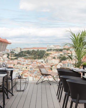 View of Lisbon from the rooftop of The Lumiares hotel