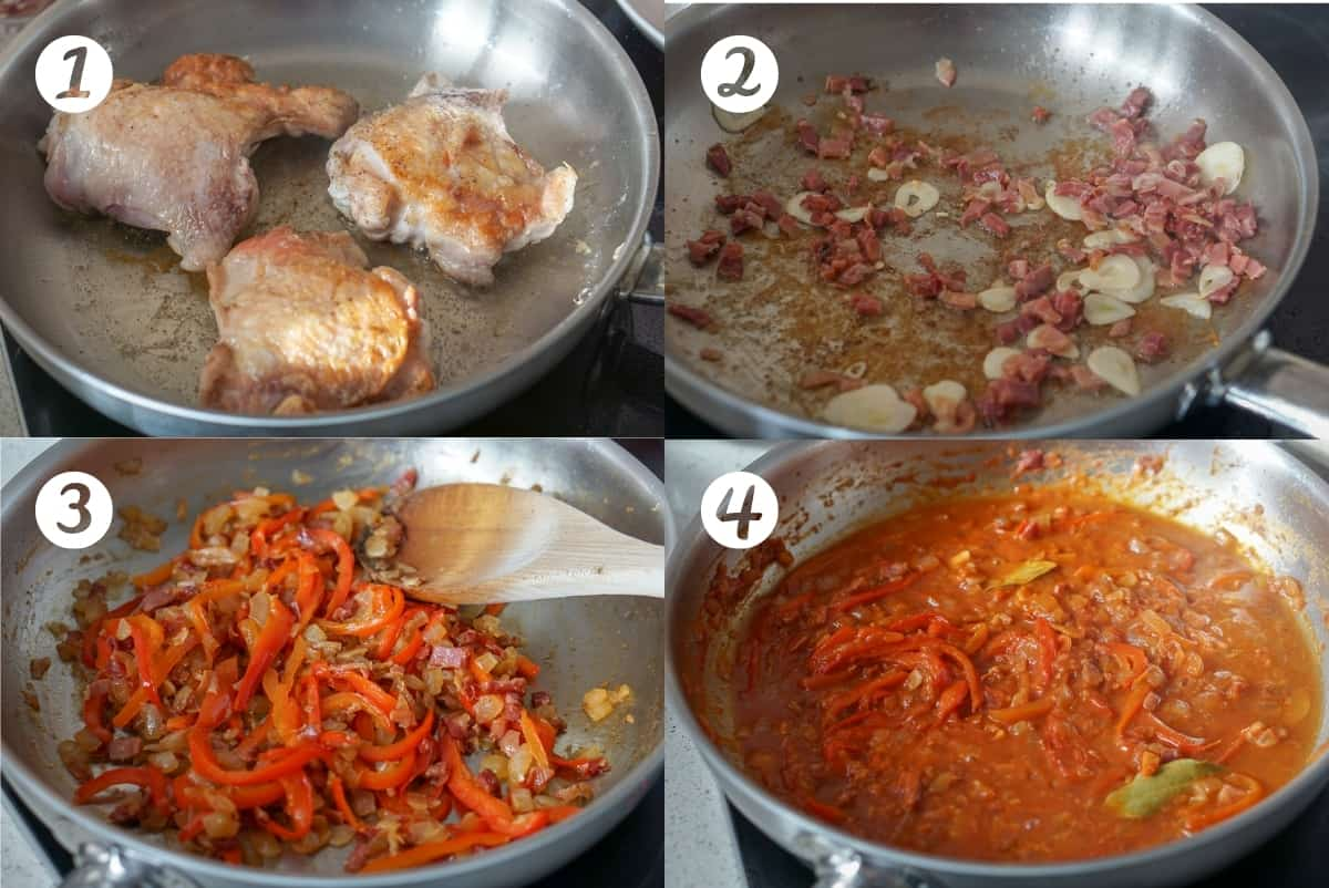 Chicken chilindron steps one to four. Browning the chicken, sauteeing sliced garlic and cured ham in a stainless steel pan, adding bell pepper and onion, adding tomato and wine.