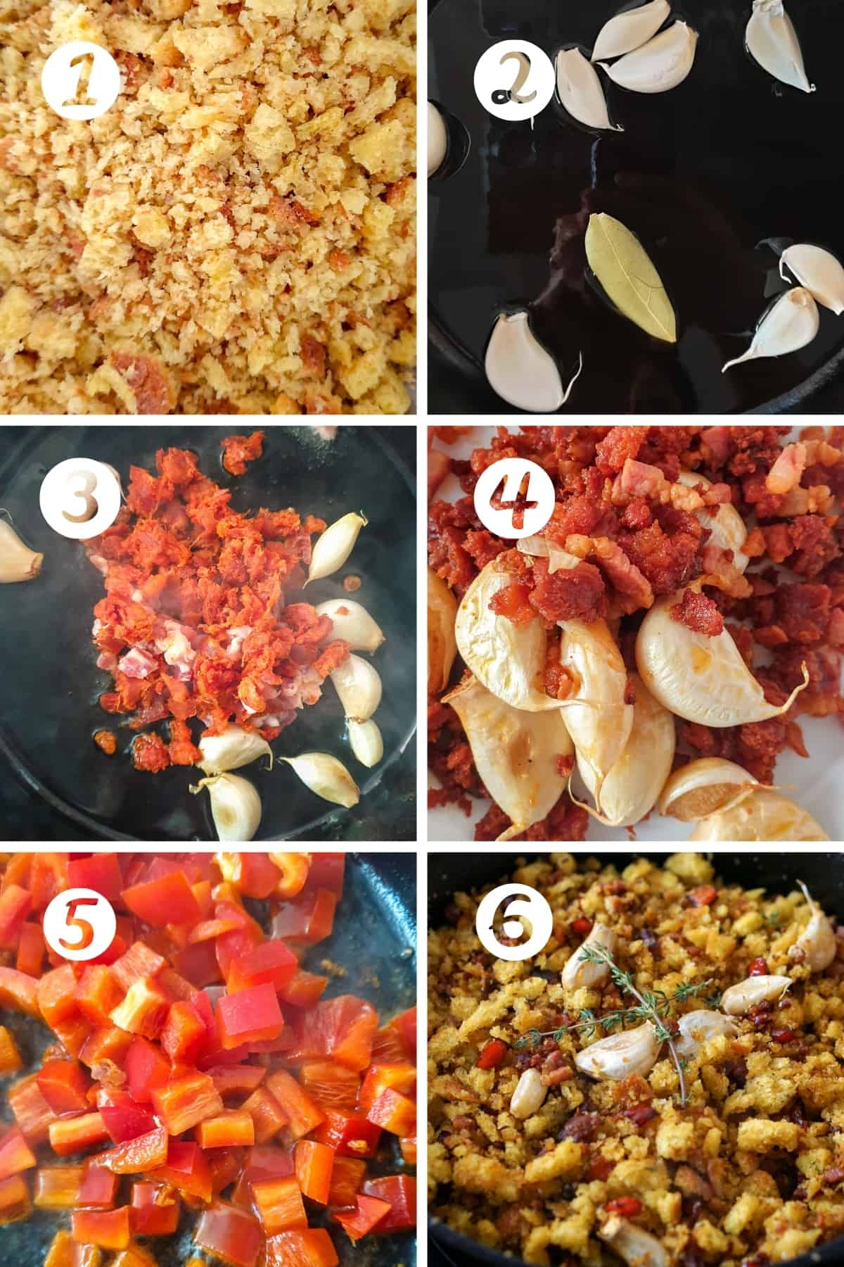 Step by Step for making migas con chorizo. 6 steps shown in a grid.