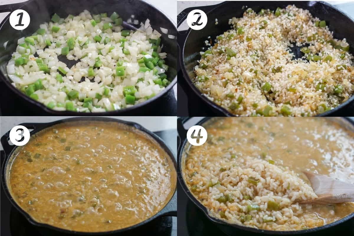 First four steps of making seafood rice: cook onion and pepper, adding the rice, adding the fish stock, stirring the rice.