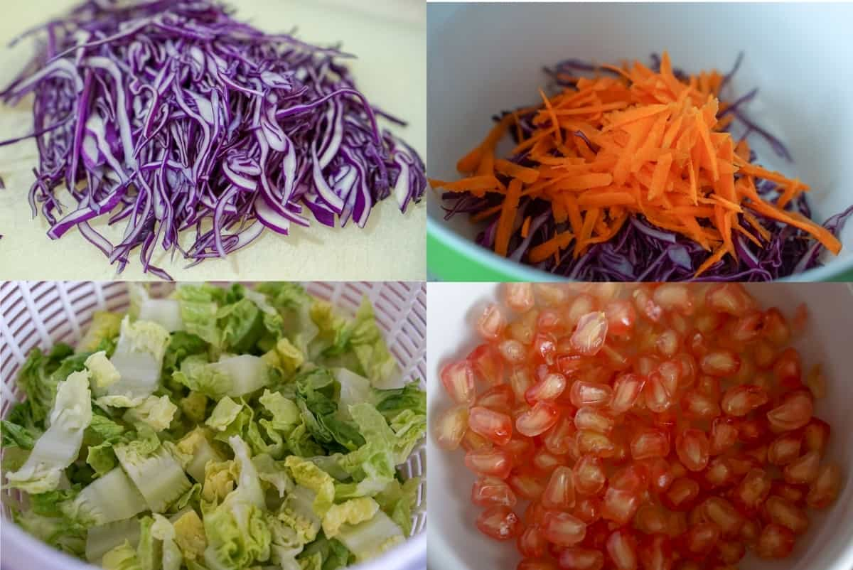 Winter Salad Ingredients in a grid: sliced red cabbage, a bowl with sliced red cabbage and sliced carrot, a salad spinner with chopped lettuce, and a bowl with pomegranate seeds.