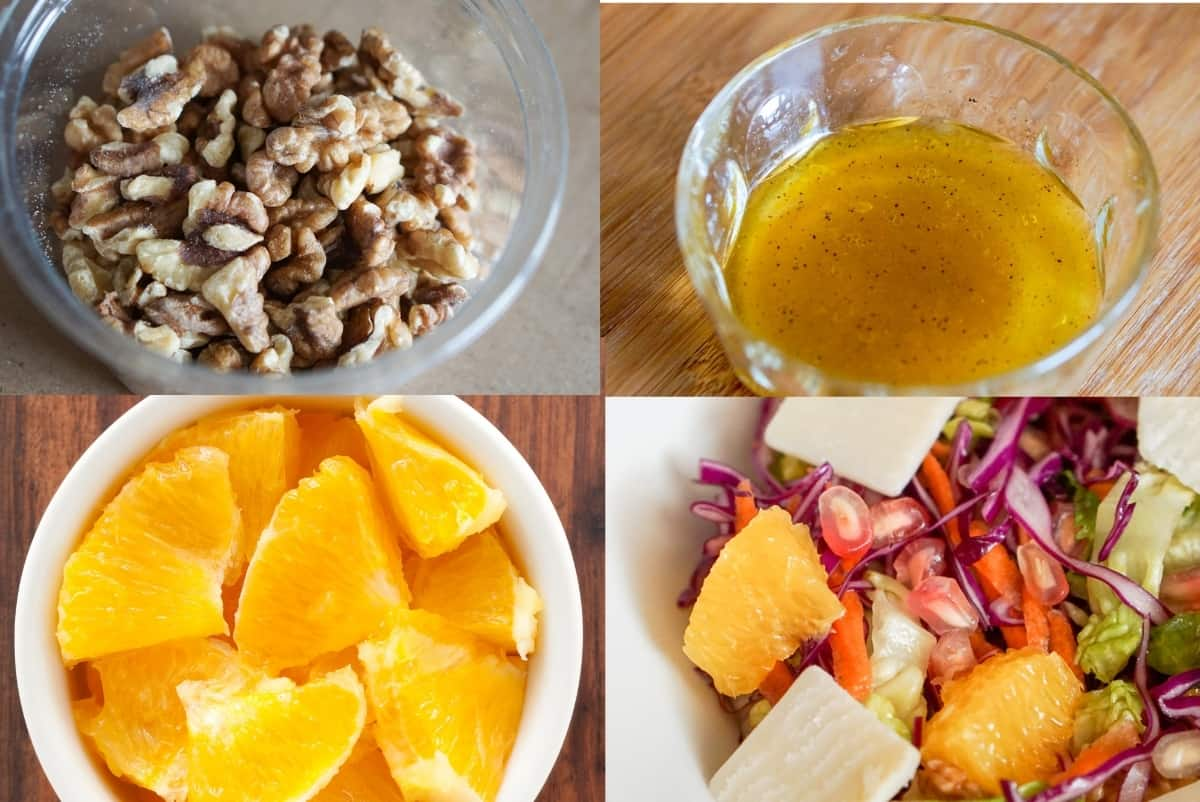Winter salad preparation in a grid: a bowl of walnuts, a bowl of salad dressing, a bowl of diced orange, and a close up of a winter salad.